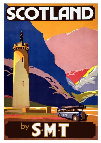 Scotland by S.M.T. Vintage Bus Travel Print/Poster. Sizes: A4/A3/A2/A1 (002702)